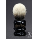 Manchurian Badger Hair Shaving Brush in Faux Ebony - Wiborg Shaving - 24mm Knot 49mm Loft - Front View