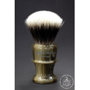 High Mountain Badger Hair Shaving Brush in Faux Horn - Wiborg Shaving - 30mm Knot 54mm Loft - Front View