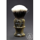 High Mountain Badger Hair Shaving Brush in Faux Horn - Wiborg Shaving - 29mm Knot 53mm Loft - Front View