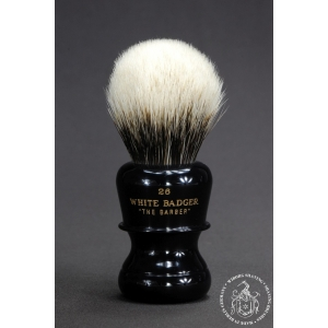 """The Barber"" 26mm Bulb Shape - White Badger Hair Shaving Brush in Faux Ebony - Back View"