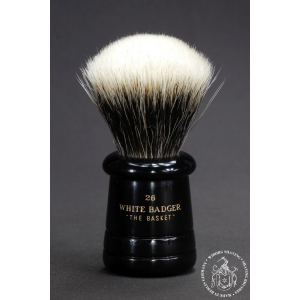 """The Basket"" 26mm Fan Shape - White Badger Hair Shaving Brush in Faux Ebony - Back View"
