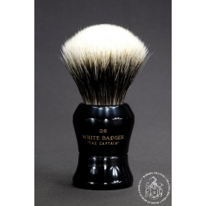 """The Captain"" 26mm Fan Shape - White Badger Hair Shaving Brush in Faux Ebony - Back View"