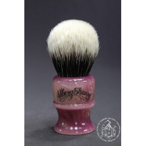 Finest 2-Band Badger Hair Shaving Brush in Golden Pink - Wiborg Shaving - 25mm Knot 47mm Loft - Front View