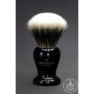 """The Guvnor"" 28mm Fan Shape - White Badger Hair Shaving Brush in Faux Ebony"