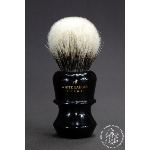 """The Jewel"" 28mm Bulb Shape - White Badger Hair Shaving Brush in Faux Ebony - Back View"