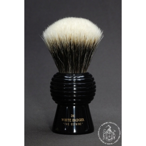 """The Keyhive"" 26mm Fan Shape - White Badger Hair Shaving Brush in Faux Ebony - Back View"