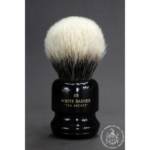 """The Anchor"" 28mm Bulb Shape - White Badger Hair Shaving Brush in Faux Ebony - Back View"