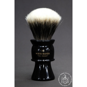 """The Knight"" 28mm Fan Shape - White Badger Hair Shaving Brush in Faux Ebony - Back View"