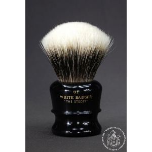 """The Stocky"" 31mm Fan Shape - White Badger Hair Shaving Brush in Faux Ebony - Back View"