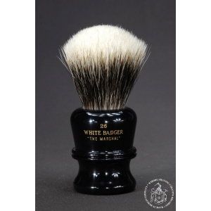"""The Marshal"" 26mm Fan Shape - White Badger Hair Shaving Brush in Faux Ebony - Back View"