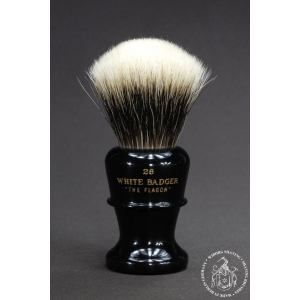 """The Flagon"" 26mm Fan Shape - White Badger Hair Shaving Brush in Faux Ebony - Back View"
