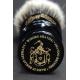 """""""The Flagon"""" 26mm Fan Shape - White Badger Hair Shaving Brush in Faux Ebony - Bottom View"""