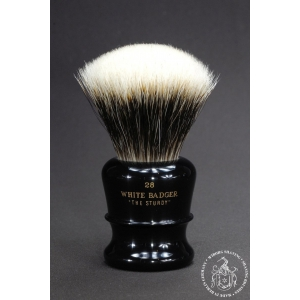 """The Sturdy"" 28mm Fan Shape - White Badger Hair Shaving Brush in Faux Ebony"