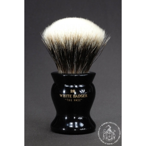 """The Vase"" 28mm Fan Shape - White Badger Hair Shaving Brush in Faux Ebony - Back View"