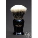 """The Veteran"" 28mm Fan Shape - White Badger Hair Shaving Brush in Faux Ebony - Back View"