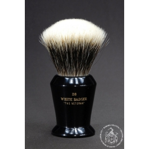 """The Veteran"" 28mm Fan Shape - White Badger Hair Shaving Brush in Faux Ebony - Back View"