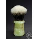 """""""The Basket"""" 26mm Fan Shape - White Badger Hair Shaving Brush in Faux Jade - Back View"""