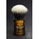 """""""The Basket"""" 26mm Fan Shape - White Badger Hair Shaving Brush in Faux Tortoiseshell - Back View"""