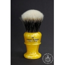 """The Flagon"" 26mm Fan Shape - White Badger Hair Shaving Brush in Lemon Yellow - Back View"