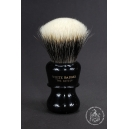 """The Barber"" 26mm Fan Shape - White Badger Hair Shaving Brush in Faux Ebony - Back View"