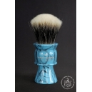 """The Knight"" 28mm Fan Shape - White Badger Hair Shaving Brush in Faux Turquoise - Back View"