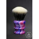 """The Marshal"" 30mm Fan Shape - White Badger Hair Shaving Brush in Purple Blue Swirl - Back View"
