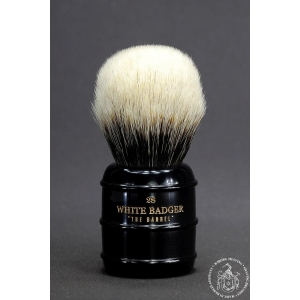 """The Barrel"" 28mm Bulb Shape - White Badger Hair Shaving Brush in Faux Ebony"