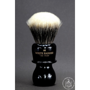 """The Pear"" 28mm Fan Shape - White Badger Hair Shaving Brush in Faux Ebony"