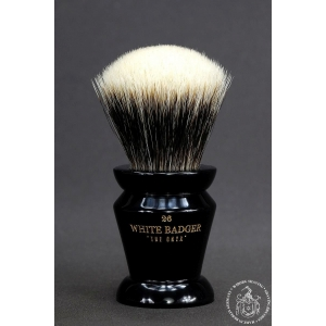 """The Onyx"" 26mm Fan Shape - White Badger Hair Shaving Brush in Faux Ebony"