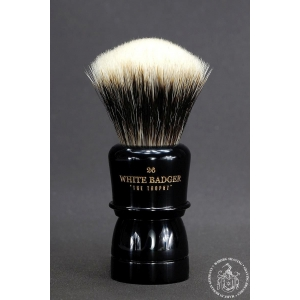 """The Trophy"" 26mm Fan Shape - White Badger Hair Shaving Brush in Faux Ebony"