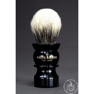 """The Lono"" 26mm Bulb Shape - White Badger Hair Shaving Brush in Faux Ebony"